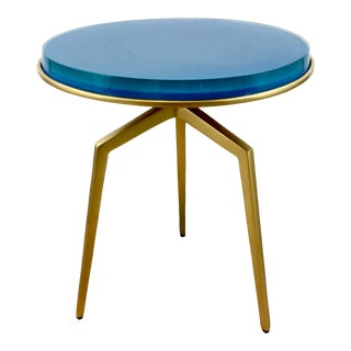 Made Goods Contemporary Aqua and Gold Resin Charl Side Table For Sale