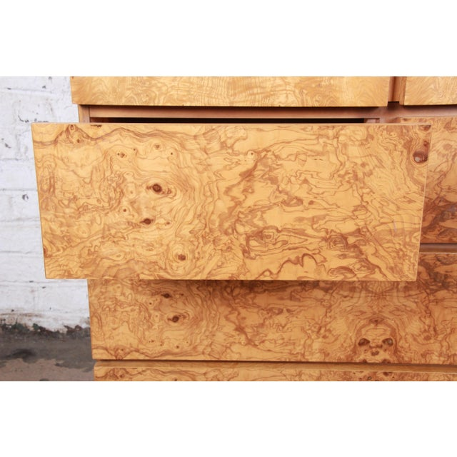 Milo Baughman Style Burl Wood Gentleman's Chest by Lane For Sale - Image 9 of 13