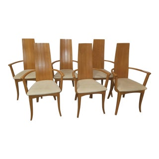 Italian Modern Highback Dining Arm Chairs - Set of 6 For Sale