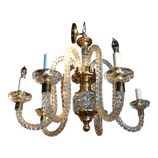 Vintage Brass Accented Hand Blown Spiral Glass Chandelier For Sale