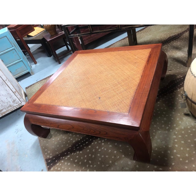Asian 20th Century Ming Style Cane Top Coffee Table For Sale - Image 3 of 8