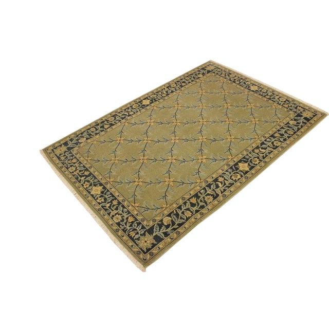 Semi Antique Istanbul Hortenci Lt. Green/Charcoal Turkish Hand-Knotted Rug -4'2 X 6'0 For Sale
