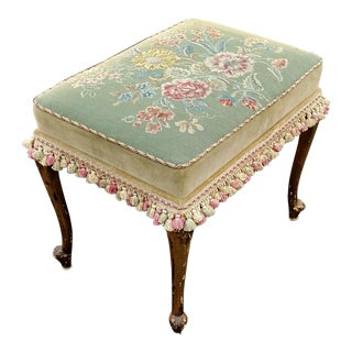 ANTIQUE 19th C FRENCH Louis XVI Gilt Carved NEEDLEPOINT BENCH w TASSLES