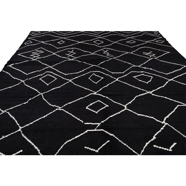 Modern Moroccan Style Wool Rug 10 X 14 For Sale - Image 12 of 13