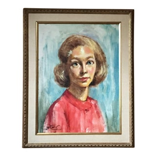 1950s Mid Century Modern Female Portrait Painting Vintage For Sale