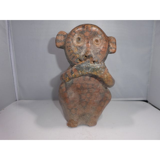 Authentic Pre Columbian Stirrup Monkey Vessel From Major Auction House sold as found in vintage condition.