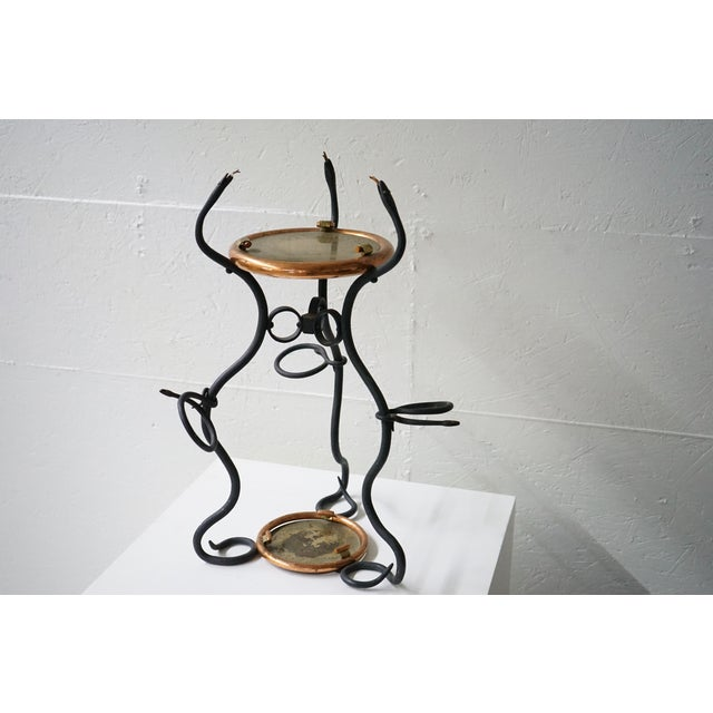 """Vintage Two-Tiered Hand Forged """"snake"""" Table For Sale - Image 4 of 9"""