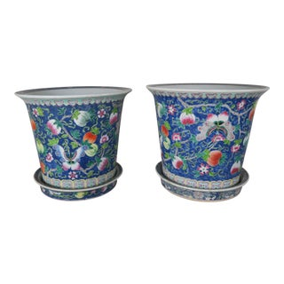 Mid Century Chinese Painted Ceramic Pots, Pair For Sale