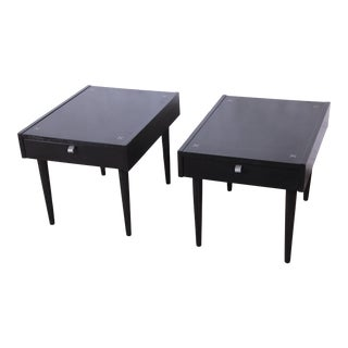 Merton Gershun for American of Martinsville Ebonized End Tables or Nightstands, Pair For Sale