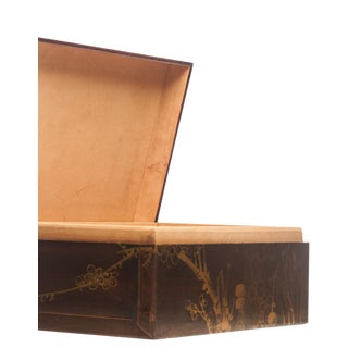 "Lawrence & Scott Mahogany Meridian Leather Box ( 16.5"") For Sale"