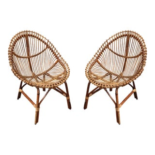 A Pair of Bamboo Armchairs, Italy 1950 For Sale