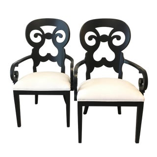 Black Stanley Wayfarer Arm Chairs - a Pair