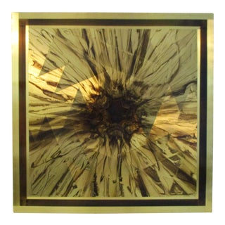 """1970s Vintage """"Golden Voyage"""" Abstract on Metal Plate Sculptural Wall Art For Sale"""