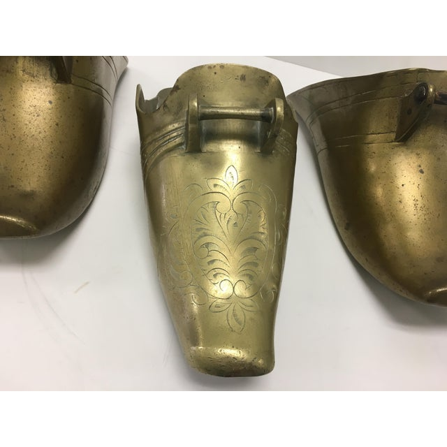 19th Century Spanish Colonial Conquistador Brass Stirrups, Set of Three For Sale - Image 4 of 8