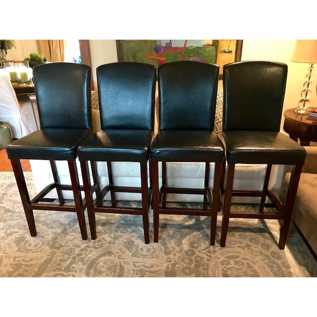 Top-Grain Leather Bar Stools, Classic and Clean-Lined - Set of 4 - Image 2 of 11