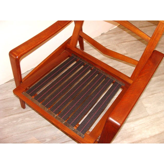 Wood Vintage Arne Wahl Iversen Chair and Ottoman Two Sets For Sale - Image 7 of 11