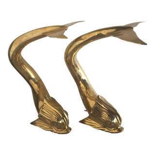 Vintage Brass Dolphin Andirons - A Pair