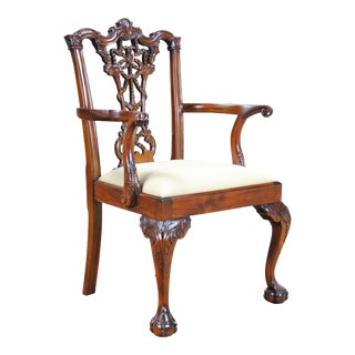 Carved Mahogany Chippendale Arm Chair For Sale