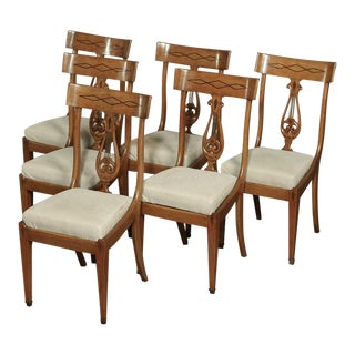 Set of 6 Mid-Century French Directoire Style Inlaid Dining Chairs For Sale