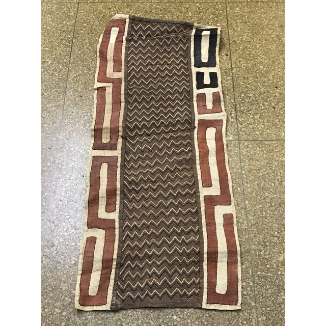 "African Tribal Art Handwoven Kuba Cloth Panel from DRC - 16.5"" x 40.5"" - Image 2 of 6"