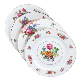 Vintage Mismatched Fine China Dinner Plates - Set of 4 For Sale