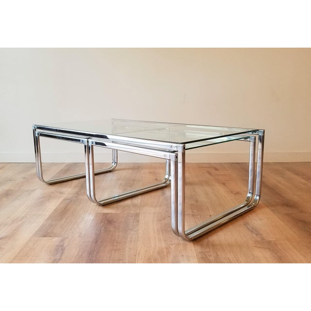 Mid-Century Modern 1970s Glass and Chrome Coffee Table With Nesting Side Tables Made in Italy For Sale - Image 3 of 10