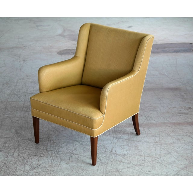 Fabric Frits Henningsen Pair of Lounge Chairs Denmark, Circa 1950 For Sale - Image 7 of 13