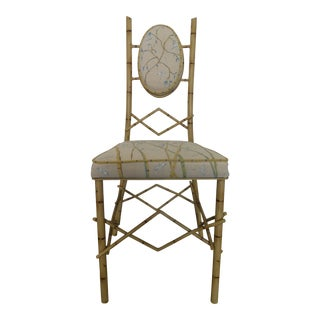 Back Metal Faux Bamboo Vanity Chair For Sale