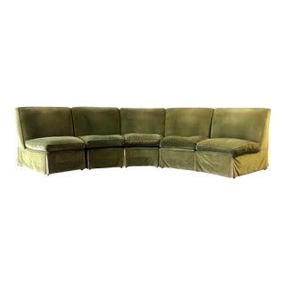 Vintage Velvet Green Sectional For Sale