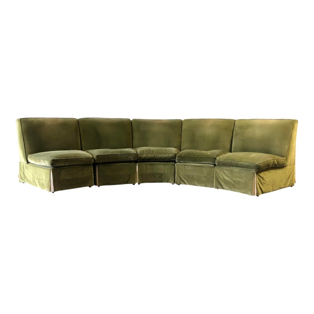Vintage Velvet Green Sectional For Sale