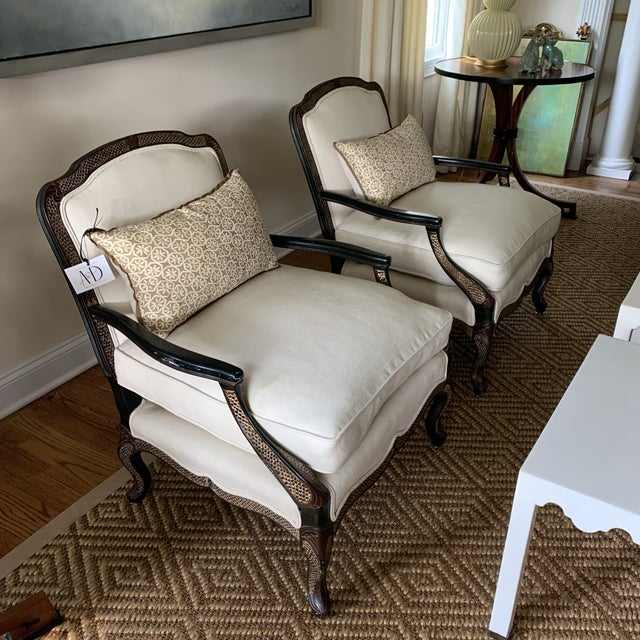 Ebony Chinoiserie Bergere Style Lounge Chairs Upholstered in White Linen - a Pair For Sale - Image 10 of 12