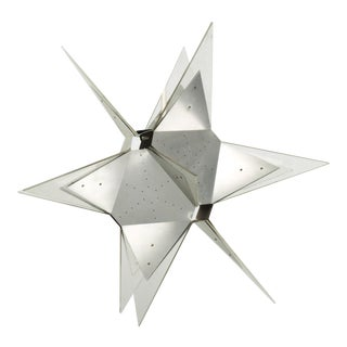 1960s Pop Art Pendant Moravian Geometric Lucky Star Lamp Lucite & Aluminum Italy For Sale