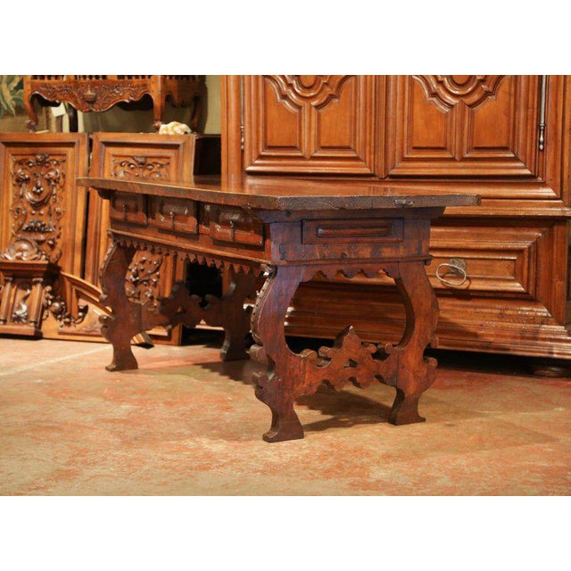 Walnut Important 18th Century Spanish Carved Walnut Console Table With Secret Drawers For Sale - Image 7 of 12