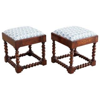 Pair of English Style Upholstered Oak Barley Twist Stools For Sale