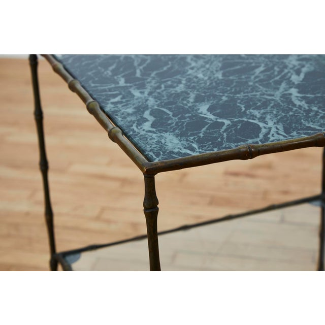 Metal Vintage Maison Bauges Style Two-Tier Faux Bamboo Side Table For Sale - Image 7 of 13