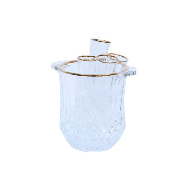 Boho Chic Cut Glass Champagne Bucket & 4 Champagne Flutes For Sale - Image 3 of 9