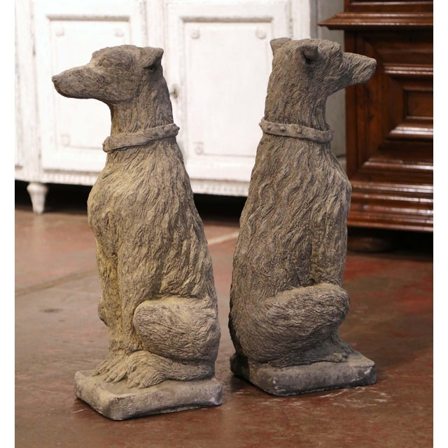 Vintage French Weathered Carved Stone Statuary Scottish Deer Hounds - a Pair For Sale In Dallas - Image 6 of 11