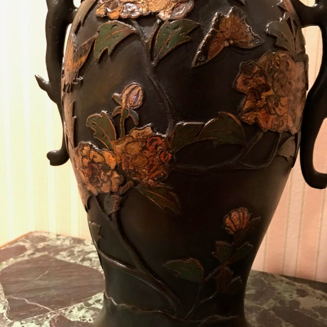 Rustic 19th Century Bronze Cloisonné & Butterfly Two Handled Vases - a Pair For Sale - Image 3 of 5