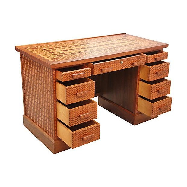 Vintage Parquetry Kneehole Desk - Image 2 of 7