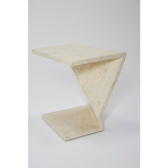 Maitland - Smith Zig Zag Side Tables or Coffee Table in Tessellated White Stone, 1990s - a Pair For Sale - Image 4 of 13