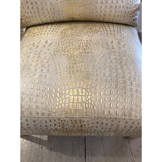 Metallic Faux Crocodile and Brass Club Chair For Sale - Image 4 of 13