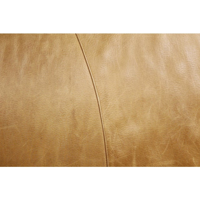 Large Vintage French Camelback Leather Couch - Image 5 of 9