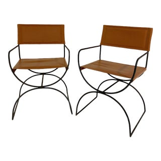 Vintage Iron Curule Chairs in Loro Piana Leather, Pair For Sale