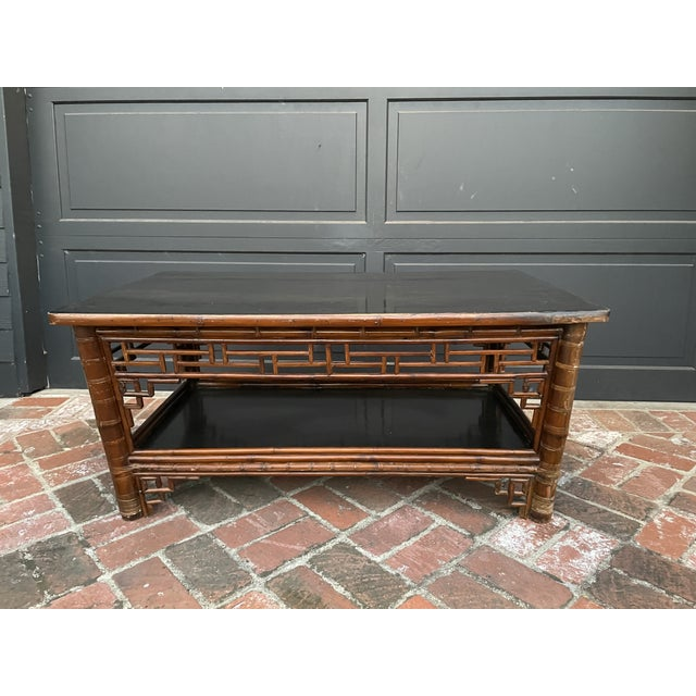 Two Tier Vintage Bamboo Coffee Table Black Lacquer Top For Sale In Los Angeles - Image 6 of 6