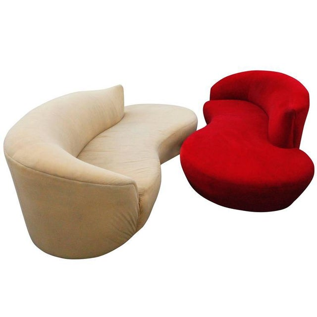Curved Kidney Chrome Ultrasuede Sofas - A Pair For Sale - Image 11 of 11