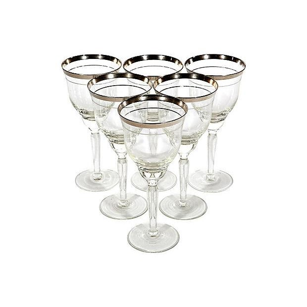 Double Silver-Banded Wine Stems - Set of 6 - Image 2 of 3