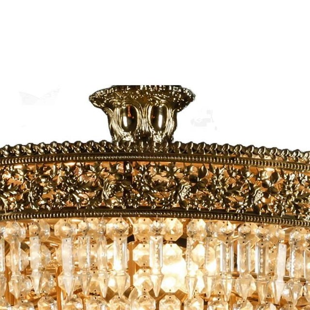 Italian Cut Crystal and Gilt Bronze Chandelier Newly wired.