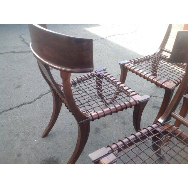 Modern Mid Century Klismos Style Walnut Dining Chairs -Set of 4 - Image 4 of 6