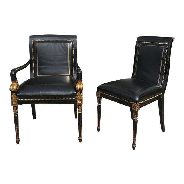 French Empire Leather Chairs - a Pair - Image 1 of 7