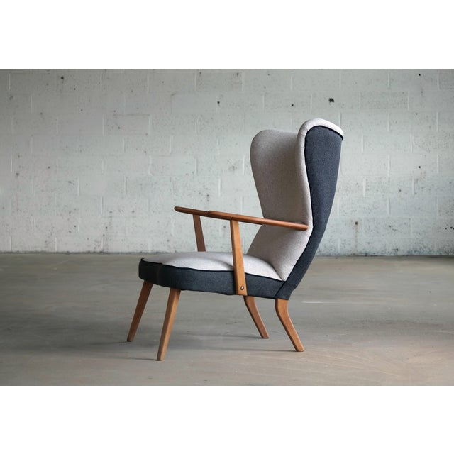 Danish 1950's Lounge Chair Model Pragh With Ottoman by Madsen and Schubell For Sale In New York - Image 6 of 12